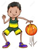 Illustration a boy bouncing a basketball